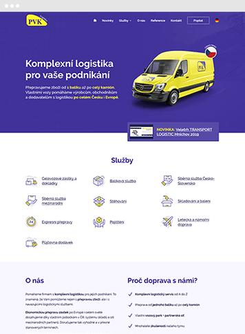 Jednostránkový web Kole - rozvoz léků